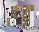 Polini Kids Kinder Hochbett mit Kleiderschrank und Schreibtisch 1447.68.9
