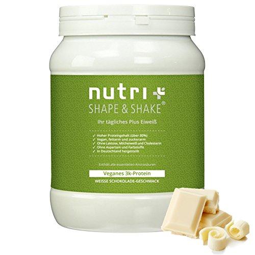 Proteinpulver Vegan Weiße Schokolade 500g - Nutri-Plus Shape & Shake - Veganes Eiweißpulver ohne Aspartam, Laktose & Milcheiweiß - 3k-Protein (Muskel-protein-schokolade)