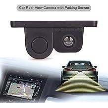Erisin ES566R Cámara de visión trasera para coche con sensor de aparcamiento de 120 grados, sistema asistente 2 en 1, radar inverso