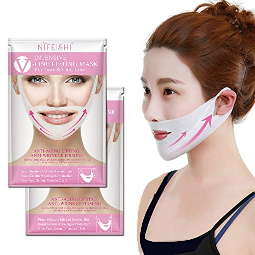Amino Lift (NIFEISHI V Line Lifting Mask (2 Pack) Chin Up Patch V Shape Face Lifting, Double Chin Reducer Intense Lifting Mask Neck Mask V Shape Face Mask for Firming Moisturizing Face and Neck Lift.)