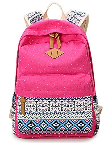 Leaper Rucksack aus Canvas mit hübschem Polka Dot und aztekischen Mustern als Schultasche und leichter Rucksack(Rosa)