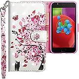 CLM-Tech kompatibel mit Motorola Moto E4 Hülle, Tasche aus Kunstleder, Baum Katze Schmetterling rosa weiß, PU Leder-Tasche für Moto E4 Lederhülle