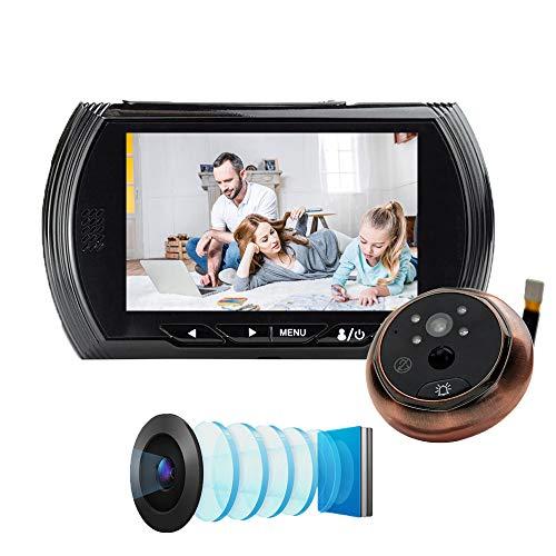 Jackcer Klingel-Kamera, 4,3-Zoll-HD Smart-Digitalkamera-Projektor 160 ° Weitwinkel Video auf Nimm eine Türklingel IR-Nachtsicht-PIR Bewegungs-Sensor Keiner Disturb Glocke,1
