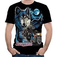 Feng Los Hombres de Cuello Redondo de Manga Corta Camiseta 3D Lobo Imprimir Verano Hombres Manga Corta Top,L