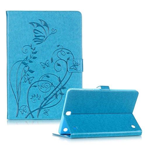 """Custodia Samsung Galaxy Tab A 9.7"""" SM-T550 SM-T551 Elegante Farfalle e Fiori Disegno,Funyye Cover e Penne Capacitive per Samsung Galaxy Tab A 9.7"""" SM-T550 SM-T551 Portafoglio Flip Libro Pelle Copertura [Supporto Stand / Porta Carte / Chiusura Magnetica] Wallet Case Protezione Casa - Blu"""