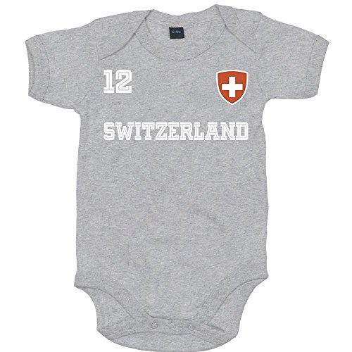 Schweiz Weltmeisterschaft 2018 #24 Premium Babybody Fan Trikot Fußball Weltmeisterschaft Nationalmannschaft Mädchen Kurzarmbody, Farbe:Grau-Meliert (Heather Grey Melange BZ10);Größe:6-12 Monate -