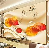 YUYINGXIANG Photo Papier Peint Salon Canapé TV HD Mode Rouge Feuilles D'érable Papillon Bulle Grande Murale 3D Papier Peint Peint,220cmx330cm
