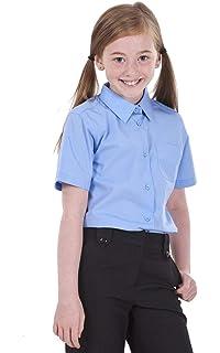 2 X GIRLS SHORT SLEEVE SHIRT White Cotton Mix School Uniform  Ex Store