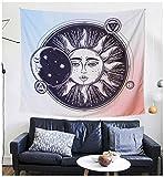 HilltopToCloud Wandteppich Wandtuch Bohemian Tapisserie Mandala Tapestry Natur Muster Sonne Mond Blumen Wandbehang mehrfarbig