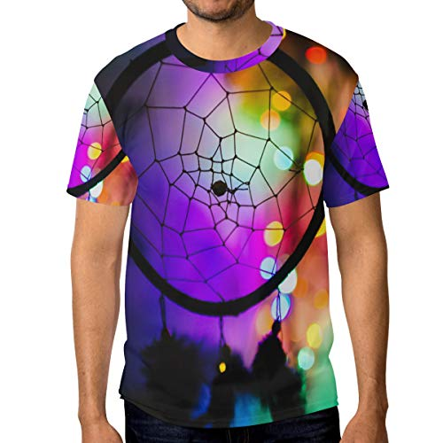 MALPLENA - Camiseta de Manga Corta para Hombre, diseño de atrapasueños 1 S