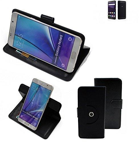K-S-Trade® Hülle Schutzhülle Case Für -ZTE Blade V8 64 GB- Handyhülle Flipcase Smartphone Cover Handy Schutz Tasche Bookstyle Walletcase Schwarz (1x)
