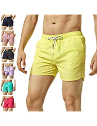 a29d3af53c MaaMgic Men Swimming Shorts Classic Mesh Lined Surf Trunks Quick-Drying  Beach Shorts Adjustable Drawstring