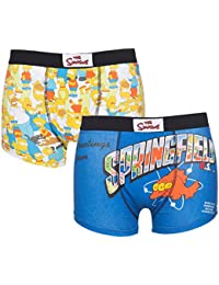 TruffleShuffle Mens Simpsons 2 Pack Boxer Shorts In Gift Box