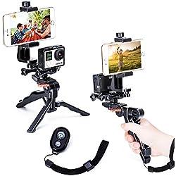 Zeadio 3-in-1 palmare stabilizzatore manico e treppiede Combo con doppio supporto, supporto per telefono e telecomando Bluetooth per tutte le GoPro iPhone Samsung, 2 angoli shooting contemporaneamente anche come selfie stick