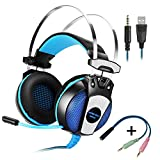 KOTION Each Headphones for jueguos GS500 Headphones with Microphone For Gaming 7.1 Surround Sound System Controls on Cable via USB connection with Microphone For PCP, S4, Mac and Mobile Gaming Bass Stereo Headset Earphones Headphones With LED Light (Black + Blue)