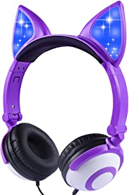 LOBKIN Foldable Wired Over Ear Kids Headphone with Glowing Light for Girls Children Cosplay Fans,Cat Ear Headphones LO-Purpl