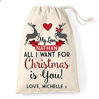 All I Want For Christmas Is You Santa Weihnachtsstrumpf Geschenk Tasche groß 30x 40cm