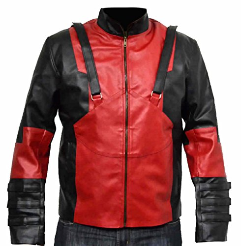 classyak da uomo Fashion Deadpool Giacca di pelle Faux Red