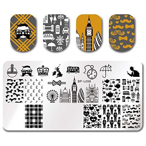 Born Pretty Plaque de Stamping Rectangulaire Londres Style Manucure Nail Art BPL-58