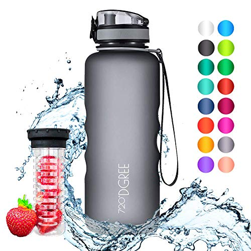 """720°DGREE Trinkflasche \""""uberBottle\"""" - 1,5 Liter, 1500ml, Grau - Neuartige Tritan Wasser-Flasche - Water Bottle BPA Frei - Ideale Sportflasche für Kinder, Fitness, Fahrrad, Sport, Fussball"""