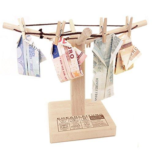 Casa Vivente – Wäsche-Spinne aus Holz mit lustiger Gravur – Eheanleitung – kreative und originelle Geld-Geschenke oder Foto-Geschenke...