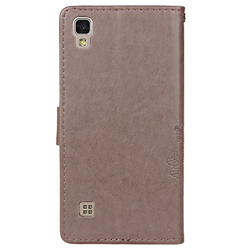Für LG X Power Case Cover, Lucky Clover geprägte Blume PU Ledertasche mit seitlichen Schnalle Wallet Case mit Lanyard & Halter & Card Slots ( Color : Rose ) Gray