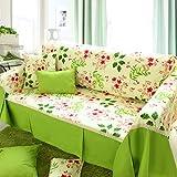 100% algodón Tela Toalla de sofá, Estilo europeo Cojines de sofá Cuatro estaciones Intercambiable a prueba de polvo La cubierta del sofá-A 190x300cm(75x118inch)