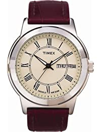 timex watches shop amazon uk timex classic mens watch cream dial and brown leather strap t2e581d7pf