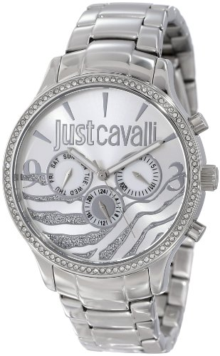 Just Cavalli Huge Women's Quartz Watch with Silver Dial Analogue Display and Orange Stainless Steel Strap R7253127513