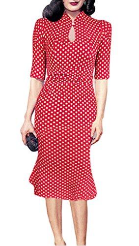 Smile YKK Robe Rétro Femme Manche Courte Robes de Cocktail Soirée Queue de Poisson Bouton Rouge
