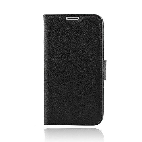 Aomo Leder Hülle für Motorola Moto G3 Schutzhülle Handyhülle Taschen Schalen Handy Tasche Flip Wallet Stil case Lederhülle für Motorola Moto G3 Tasche Mit Kartensteckplätze-Schwarz