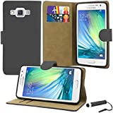 Samsung Galaxy A5 - Premium Leather Book Wallet Style Case Cover Pouch & Screen Protector With Microfibre Polishing Cloth & Touch Screen Stylus Pen
