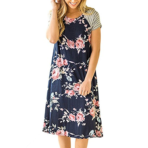 b9279811105 iShine Casual Shirtkleid Damen Kurzarm Blusenkleid T-Shirt Kleid Strandkleid  mit Blumen Sommerkleid Knielang Dunkeblau