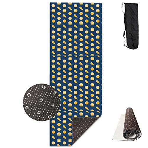 Bag shrot Yoga Mat Non Slip Hamburger 24 X 71 Inches Premium Fitness Exercise Pilates Carrying Strap Pro-lite Cap