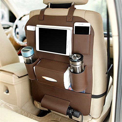 Delmkin Auto Rücksitztasche Utensilientaschen Hochwertige Leder Autositzschutz Tablet Organizer (Braun)