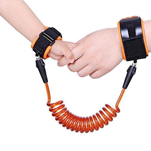 Shsyue Kinder Sicherheitsleinen/Kinder Anti Lost Walking Hand Gürtel für Kleinkinder Kinder,1.5m Kinder Sicherheit Handgelenk Link(Orange)