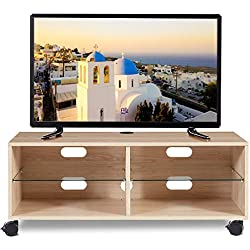 RFIVER Meuble TV Mobile sur roulettes Meuble Scandinave pour Téléviseurs avec 4 Compartiments Bois Chêne TS5001