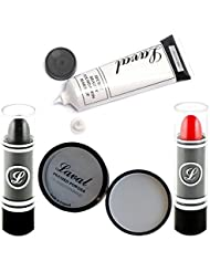 The Spooky Halloween Ultimate Make Up Set Black Lipstick , White Foundation , White Powder And Red Lipstick By Moreton Gifts