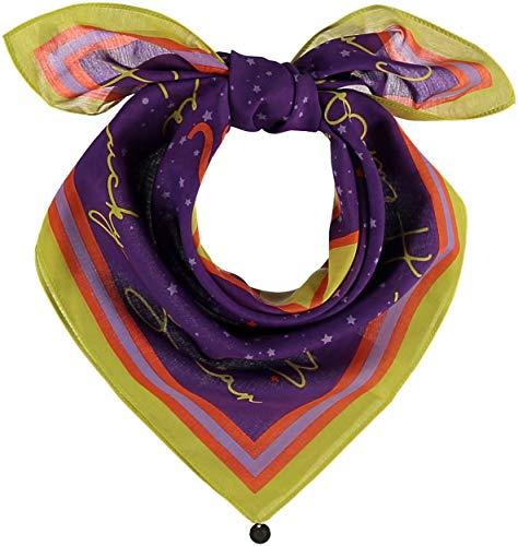 FRAAS Horoskop Zodiac Halstuch für Damen & Herren - Bandana Tuch mit Sternzeichen Design - Nickituch aus 75% Wolle & 25% Seide - 65 x 65 cm, Löwe Lila