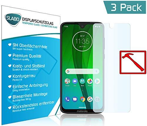 Slabo 3 x Premium Panzerglasfolie für Motorola Moto G7 | Moto G7 Plus Panzerfolie Schutzfolie Echtglas Folie Tempered Glass KLAR 9H Hartglas