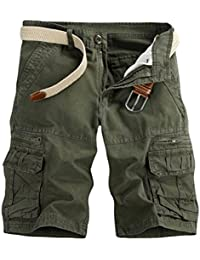Solike Homme Militaire Short de Loisir Travail Casual Shorts Bermudas Cargo Outdoor Coton Casual Lâche avec Poches Short de Sport Court Pantalon de Plage