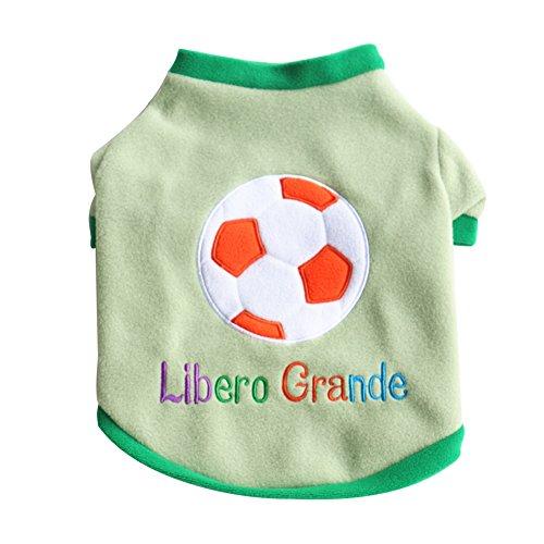 CricTeQleap Hundekleidung, S¨¹?e Fu?Ball T-Shirt Atmungsaktiv Libero Grande Letters Puppy Dog Top Haustier-Kleidung - Gr¨¹n S