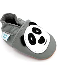 Chaussures de bébé en cuir souple panda de gris, Dotty Fish garçons filles