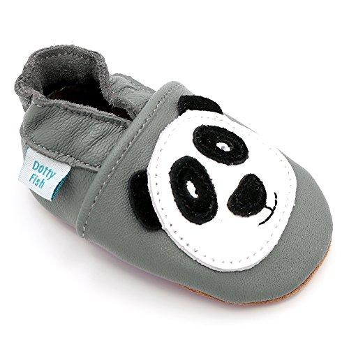 Dotty Fish - Scarpine in pelle prima infanzia - Ragazzi e Ragazza - Animali (2-3 Anni, Grigio Panda)
