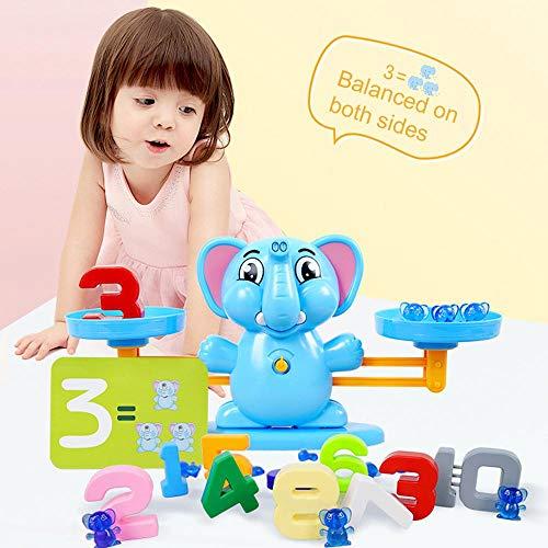 KOBWA Elephant Balancing Scale Juguete, Elephant Math Balancing Scale Número de balanza...