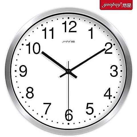 XB.T Regalos de Navidad regalos de Halloween simple en blanco y negro Salón grandes relojes de decoración del hogar moderno de silenciar el dormitorio Gráfico de pared Reloj de pared 14 en caja de