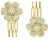 #7: AccessHer: Trendy Indo Western Wedding and Party Wear Fancy Golden Hair Accessories Hair Clip Side Pin Comb Pin Jooda Pin For Girls And Women
