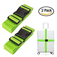 2 Pack Travel Luggage Straps - Luxebell Heavy Duty Personalised Cabin Suitcase Belt Luggage Bag Strap