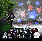 Weihnachtsbeleuchtung Projektor Weihnachten Effektleuchte Schneeflocken Sterne (Projektionslicht, 12 Motivkarten, Party Beleuchtung, Fernbedienung)
