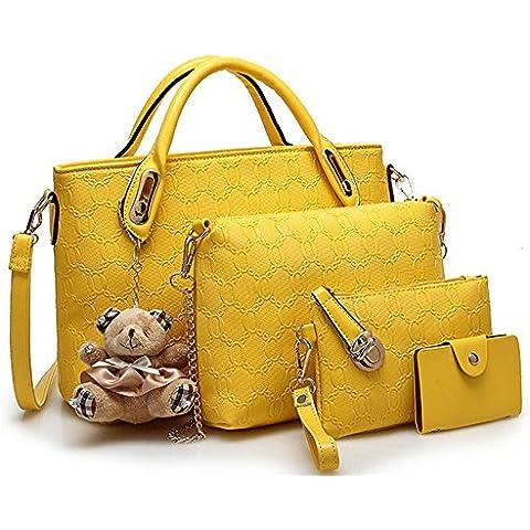 Forme a mujeres elegantes la bolsa de totalizador de 4 pedazos bolso de cuero de la PU empaquetan los bolsos del monedero del bolso fijados , yellow